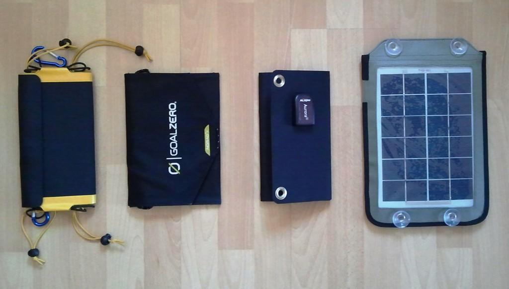 Sunload Solarclaw, GoalZero Nomad 7M, Me2Solar Aurora 4, Wattgeizer Watt 01