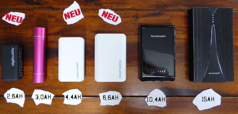 USB-Powerbank von klein bis gross